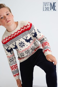 Kids Matching Family Fairisle Pattern Crew Neck Jumper (3-16yrs)