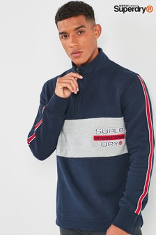 Superdry Henley Pullover in Blockfarben mit Applikation