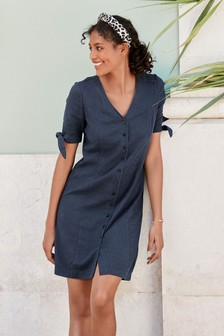 Linen Blend Tie Sleeve Dress