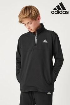 adidas Black Woven 1/2 Zip Jacket
