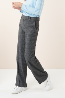 Prince Of Wales Check Wide Leg Trousers