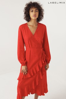 Mix/Kitri Studio Star Jacquard Wrap Dress