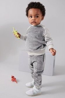 Ensemble sweat-shirt en velours moucheté et pantalon de jogging (3 mois - 6 ans)