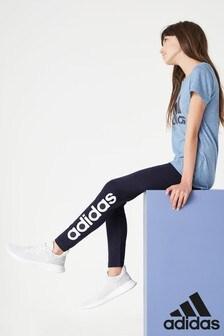 adidas Navy Linear Logo Leggings