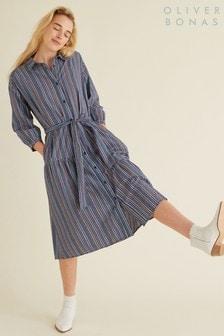 שמלת חולצה משובצת כחולה בסגנון מידי של Oliver Bonas