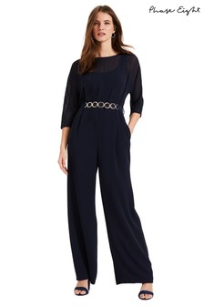 Phase Eight Blue Tiffany Belted Jumpsuit