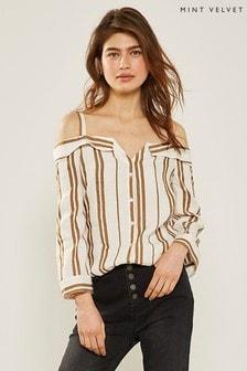 ce37706a6e004 Mint Velvet Striped Cold Shoulder Top