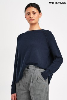 Whistles Navy Cashmere Crew Neck Jumper