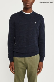 Abercrombie & Fitch Navy Crew Neck Knit Jumper