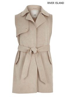 River Island Stone Belted Trench Coat