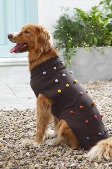 Pullover mit Hundemotiv und Bommeln