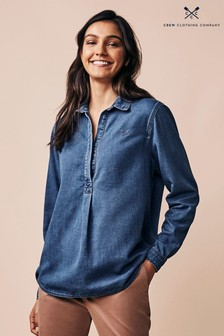Crew Clothing Company Blue Denim Popover Shirt
