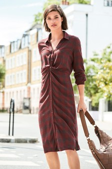 Check Twist Shirt Dress