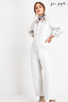 Free People White Gia Boilersuit