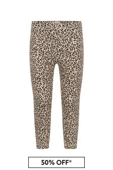 Girls Leopard Print Cotton Jersey Leggings