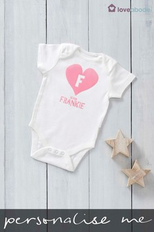 Personalised Flock Printed Named Heart Design Short Sleeved Bodysuit by Loveabode