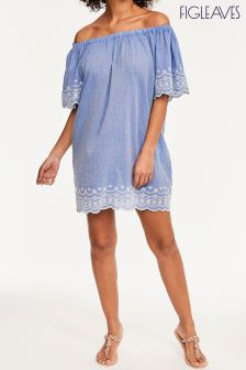 Figleaves Blue Daisy Off The Shoulder Dress