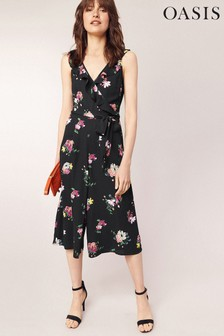 Oasis Black Floral Frill Jumpsuit