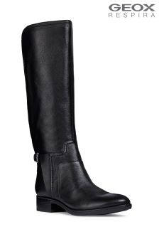 Geox Felicity Black Knee High Leather Boot