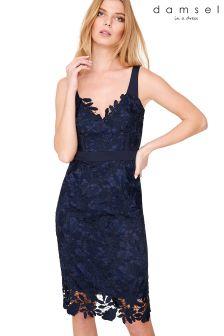 Damsel Blue Abella Boned Lace Midi Dress