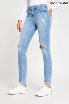 River Island Denim Light Molly Mid Rise World Jeggings