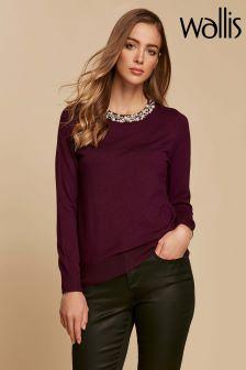 Wallis Purple Pearl Necklace Jumper