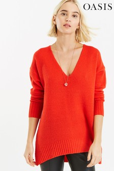 Oasis Orange Sally Oversized Jumper