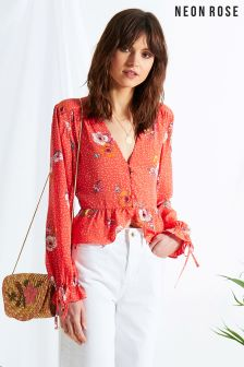Neon Rose Red Gabrielle Floral Tea Blouse