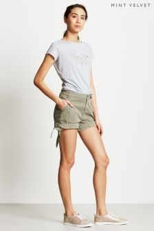 Mint Velvet Green Tie Bottom Chino Short