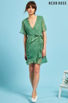 Neon Rose Green Floral Ruffle Wrap Mini Dress