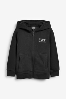 EA7 Black Logo Zip Through Hoody