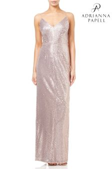 Adrianna Papell Gold Stripe Sequin Gown