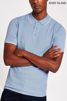 River Island Blue Basket Weave Knitted Polo Shirt