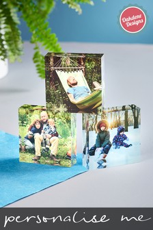 Set of 3 Personalised Photo Upload Acrylic Photo Blocks by Oakdene Designs