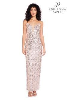 Adrianna Papell Pink Sequin Column Dress