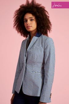 Joules French Navy Gingham Zayna Blazer
