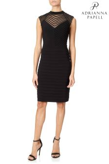 Adrianna Papell Black Banded And Soutache Sheath Dress