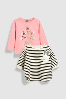 Long Sleeve Bunny Slogan Tops Two Pack (3mths-6yrs)