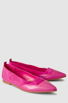 Signature Leather Pointed Ballerinas