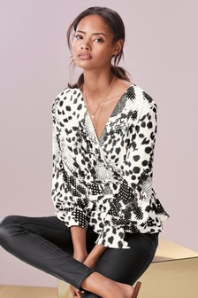 b33e89b0cc0f Animal Print Wrap Top