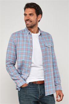 Long Sleeve Washed Check Shirt