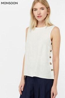 Monsoon Ladies White Beth Linen Button Tank Top
