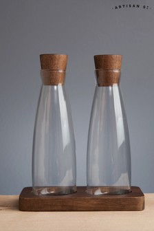 Artisan Street Glass Oil And Vinegar Servers With Wooden Stand