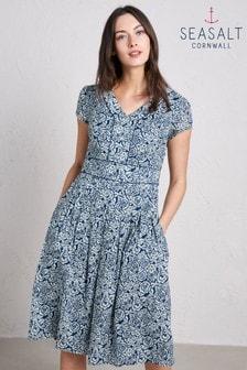 שמלה בצבע כחול בהיר עם הדפס ורדים משורטט של Seasalt