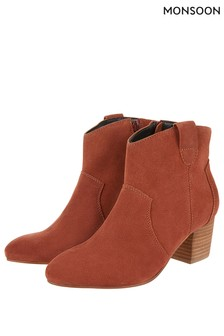 Monsoon Ladies Red Carling Casual Suede Ankle Boot