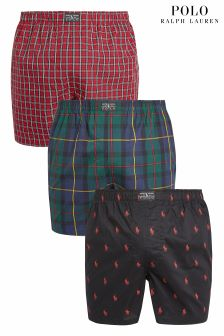 Polo Ralph Lauren Red/Navy/Green Printed Woven Boxer Three Pack