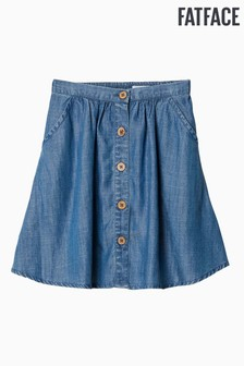 FatFace Blue Kara Button Through Skirt