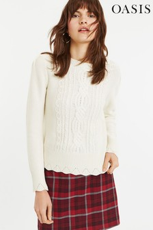 Oasis White Leah Cable Jumper