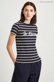 French Connection Blue Striped Slogan Tee