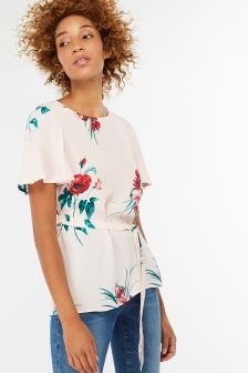 Monsoon Pink Gloria Print Belted Top